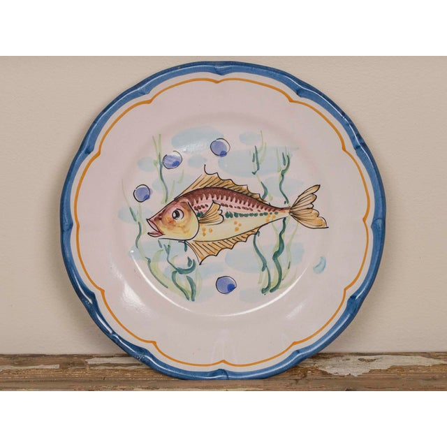 Late 20th Century Italian Hand Painted Plates - Set of 8 For Sale - Image 9 of 11