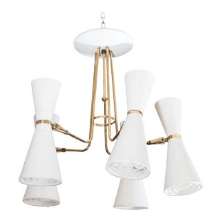 Lightolier Ten-Light Chandelier with Perforated Conical Shades For Sale