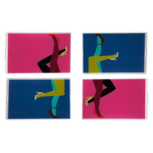 Pump It Up Royal and Berry by Angela Blehm Trays, Set of 4 For Sale In Miami - Image 6 of 6