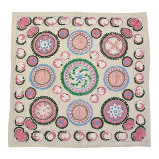Pink Embroidered Suzani Tapestry