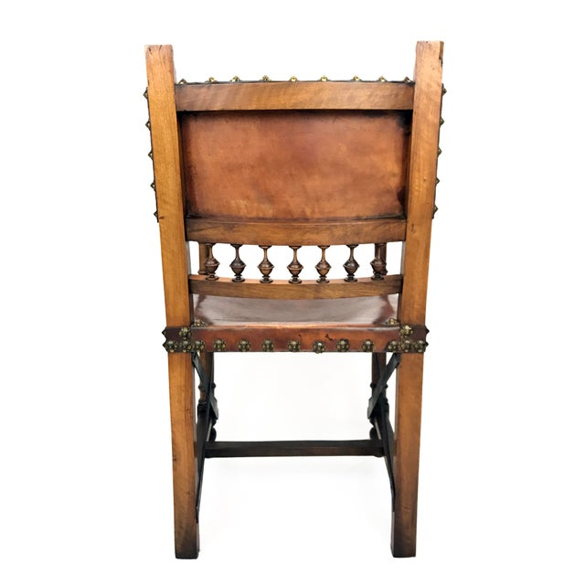 19th Century Renaissance Revival Leather Game of Thrones Style Armchair For Sale - Image 9 of 9
