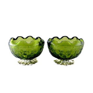 Vintage Indiana Duette Avocado Green Glass Bowls - a Pair For Sale