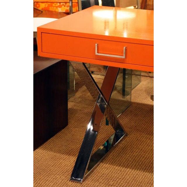 1970s Milo Baughman Orange Lacquered Campaign Desk For Sale - Image 5 of 7