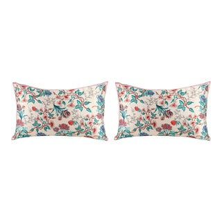Roses Silk Ivory Pink Cushions - a Pair For Sale