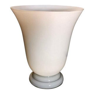 Vintage 1950s White Opaline Glass Lamp, France For Sale