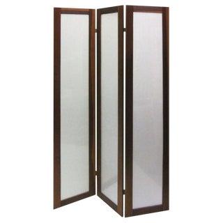 Textured Fiberglass and Teak Folding Screen For Sale