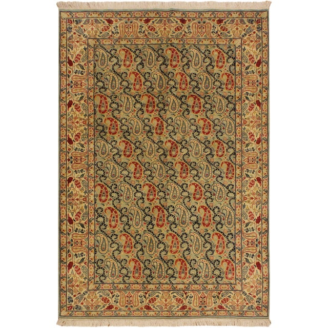 Shabby Chic Guhm Pak-Persian Pearline Lt. Green/Tan Wool Rug - 4'8 X 7'1 For Sale