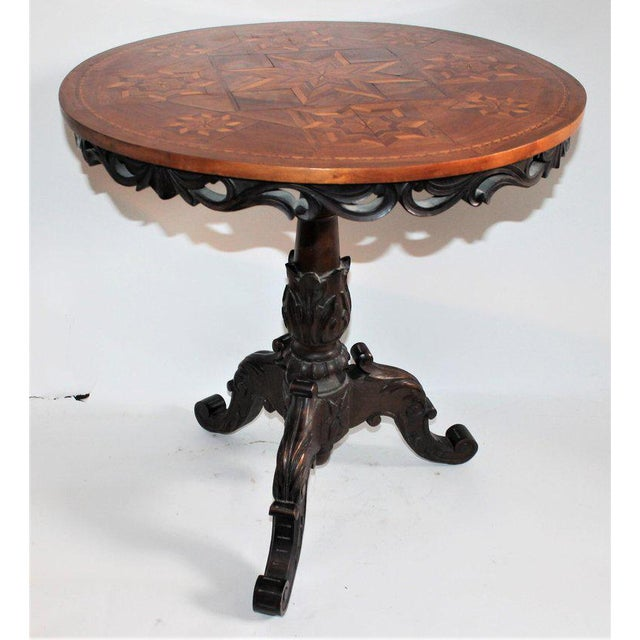Country Antique Table With 19th Century Marque Inlaid Stars Top For Sale - Image 3 of 11