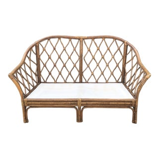 1950s Vintage Bamboo Settee For Sale