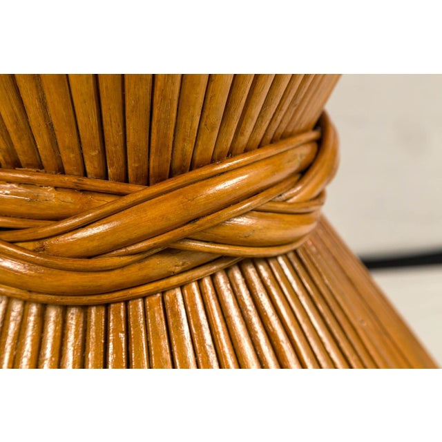 1970s Vintage McGuire Bamboo Pedestal Table For Sale - Image 5 of 10