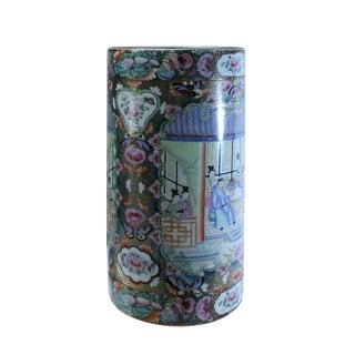 Vintage Handmade Rose Golden Canton Porcelain Flower Graphic Vase Holder For Sale