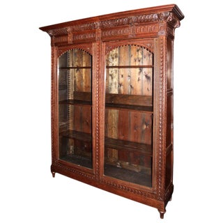 Antique Hand-Carved Bookcase With Glass Door Display For Sale