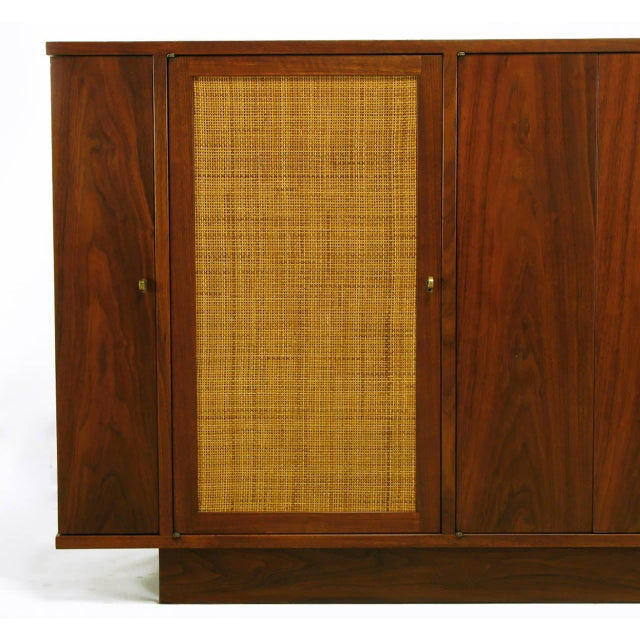 Gold Dunbar Walnut and Cane Credenza by Edward Wormley For Sale - Image 8 of 10
