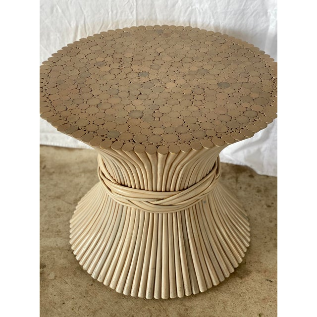 Cream 1980s Vintage Rattan Sheaf of Wheat Side Table For Sale - Image 8 of 11
