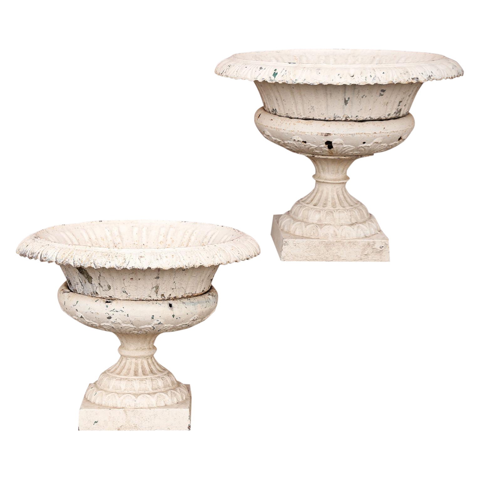 Pair French Iron Garden Urns For Sale
