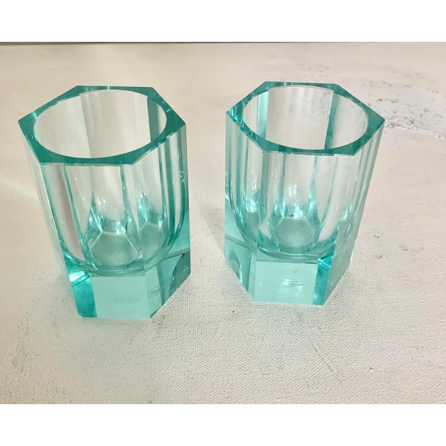 Stunningly colored modern contemporary crystal votive set from famed crystal manufacturing powerhouse Moser. As they...
