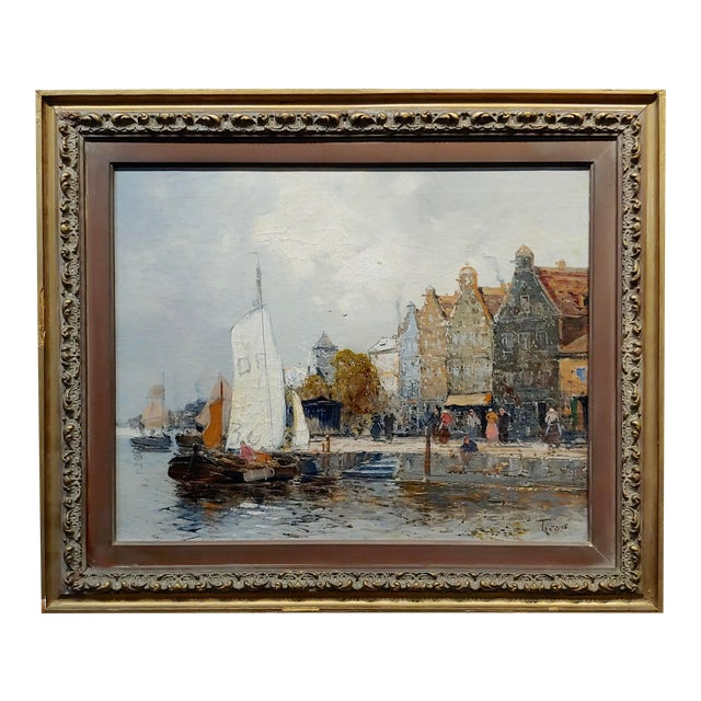 Old Amsterdam With Boats - 19th Century Dutch Impressionist Oil Painting For Sale
