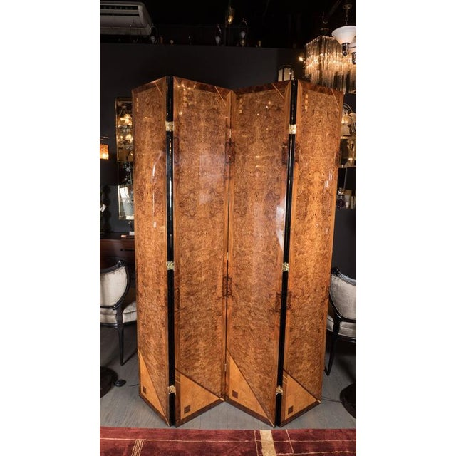 Art Deco Style Four Panel Screen in Burled Carpathian Elm with Geometric Shapes For Sale - Image 4 of 9