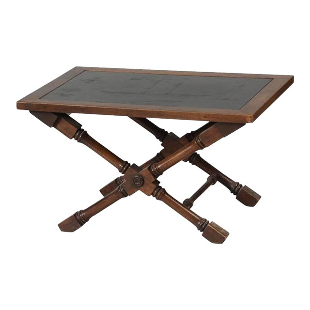 Slate Top Engraved With Clipper Ship Table For Sale