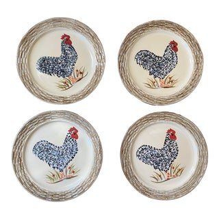 1999 Isabelle De Borchgrave Hand Painted Rooster Plates - Set of 4