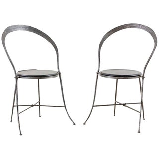 Pair of Giovanni Banci Midcentury Sculptural Iron Chairs For Sale