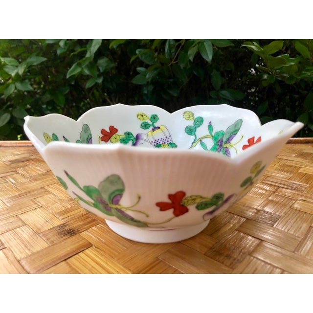 Mid 20th Century Mid Century Vintage Chinese Famille Verte Green Butterfly and Floral Porcelain Lotus Bowl For Sale - Image 5 of 10