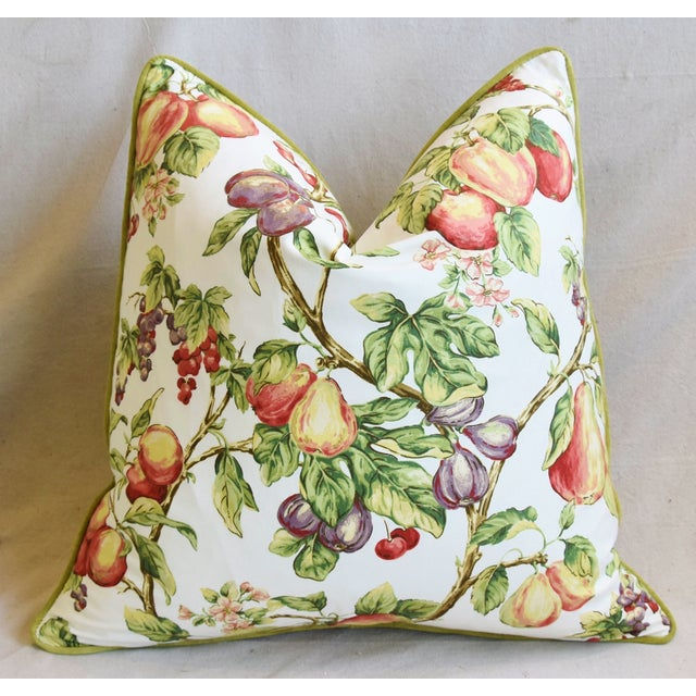 "Early 21st Century P. Kaufmann Bountiful Fruit Feather/Down Pillows 24"" Square - Pair For Sale - Image 5 of 13"