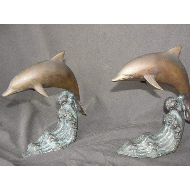 Cresting Wave Bronze Bookend Dolphins - Pair For Sale - Image 4 of 11