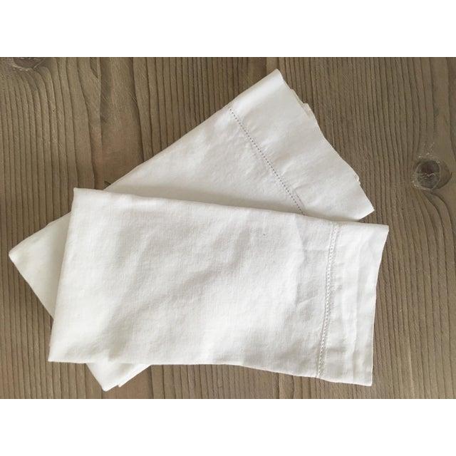 Restoration Hardware Rh White Linen Hemstitch Napkins, Set of 4 For Sale - Image 4 of 6