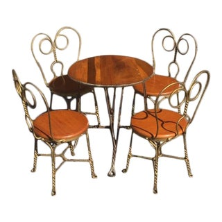 1920s Vintage Art Nouveau Childrens Ice Cream Parlor Set 5 Pieces For Sale