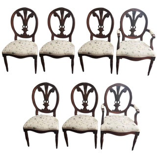 Maison Jansen Style Hand-Carved Feather Back Louis XVI Chairs - Set of 7