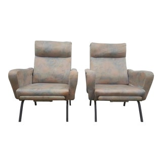 Mid Century Italian Recliner Lounge Chairs- A Pair For Sale