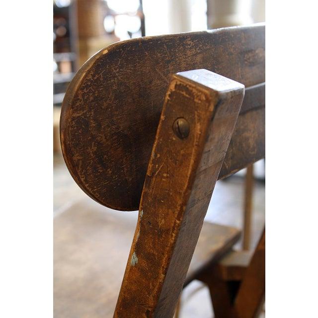 Wood Stool With Hinged Backrest - Image 2 of 4