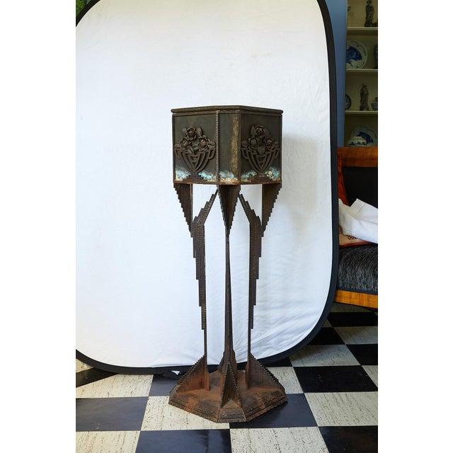 Art Deco Iron Pedestal Planter For Sale In Atlanta - Image 6 of 13