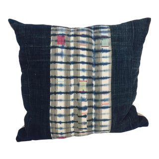Vintage Indigo Taupe Stripe Pillow For Sale