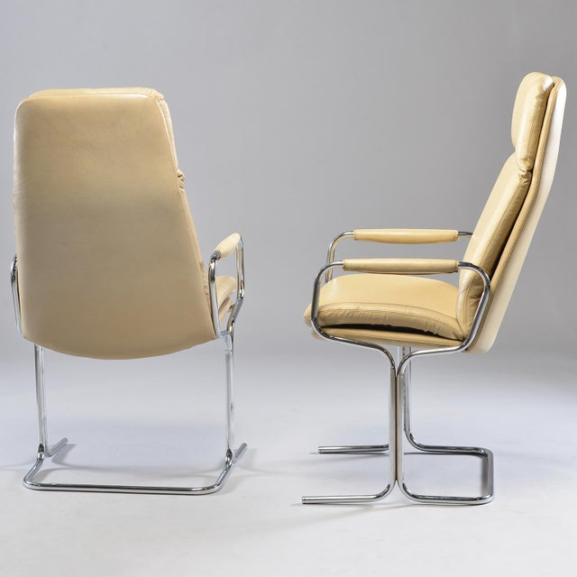Metal Tim Bates for Eleganza Collection at Pieff Chrome and Leather Armchairs - a Pair For Sale - Image 7 of 13