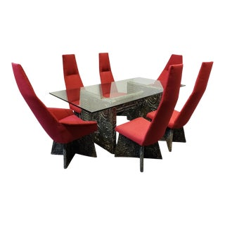 Brutalist Adrian Pearsall Dining Set With Table and 6 Chairs For Sale