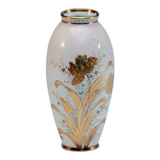 CAC/ Ceramic Art Company Lenox Hand-Painted Vase with Raised Paste Gold Tulips For Sale