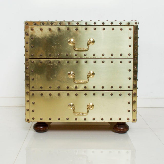 Sarreid Ltd. Mid-Century Sarreid Spain Studded Brass Chest Three Drawer Nightstand For Sale - Image 4 of 8