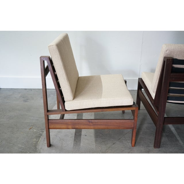 Italian Mid-Century Armless Lounge Chair, Sold as a Pair For Sale - Image 3 of 8