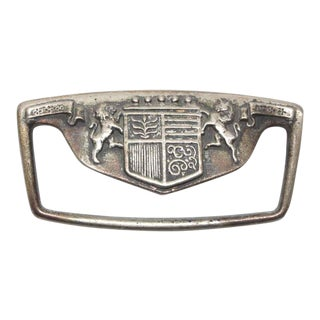 Coat of Arms Nickel Plated 4.75 In. Brass Drawer Pull For Sale