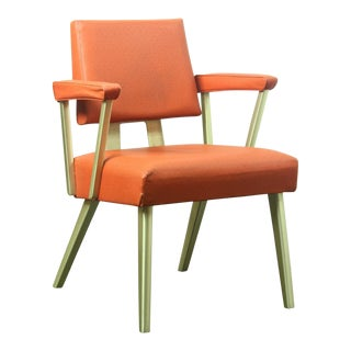 Mid Century Modern General Fireproofing Co Orange Arm Chair For Sale
