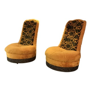 1970s Vintage Rowe Swivel Chairs- A Pair For Sale