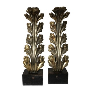 Pair of 1930s Hollywood Regency Plume Andirons For Sale