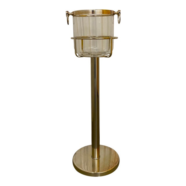 Mid Century Vintage Silver Plate & Glass Wine Bucket on Stand For Sale