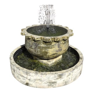 Thai Sunflower Earthware Fountain For Sale