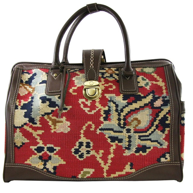 """Art Deco Vintage Kilim Carpet Bag   """"Mary Poppins"""" Carpet Bag For Sale - Image 3 of 5"""