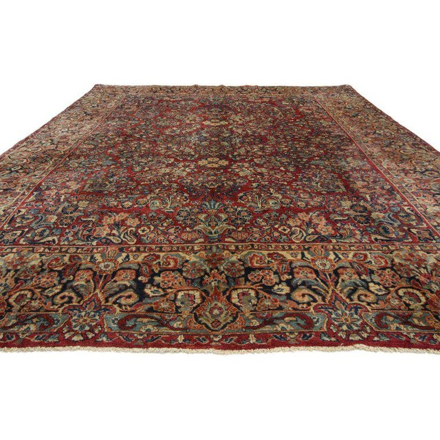 1900s Antique Persian Sarouk Neoclassical Style Rug- 8′10″ × 11′10″ For Sale - Image 4 of 5