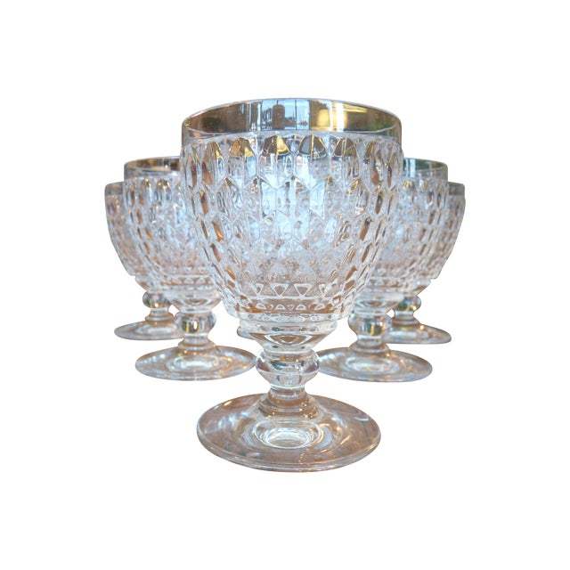 Multi Faceted Crystal Water Goblets - 6 - Image 1 of 7