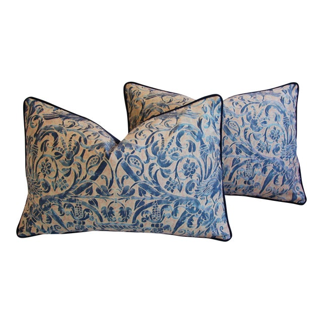 Italian Fortuny Uccelli Down Pillows - A Pair - Image 1 of 11